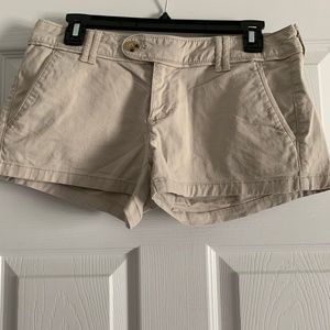 khaki button shorts